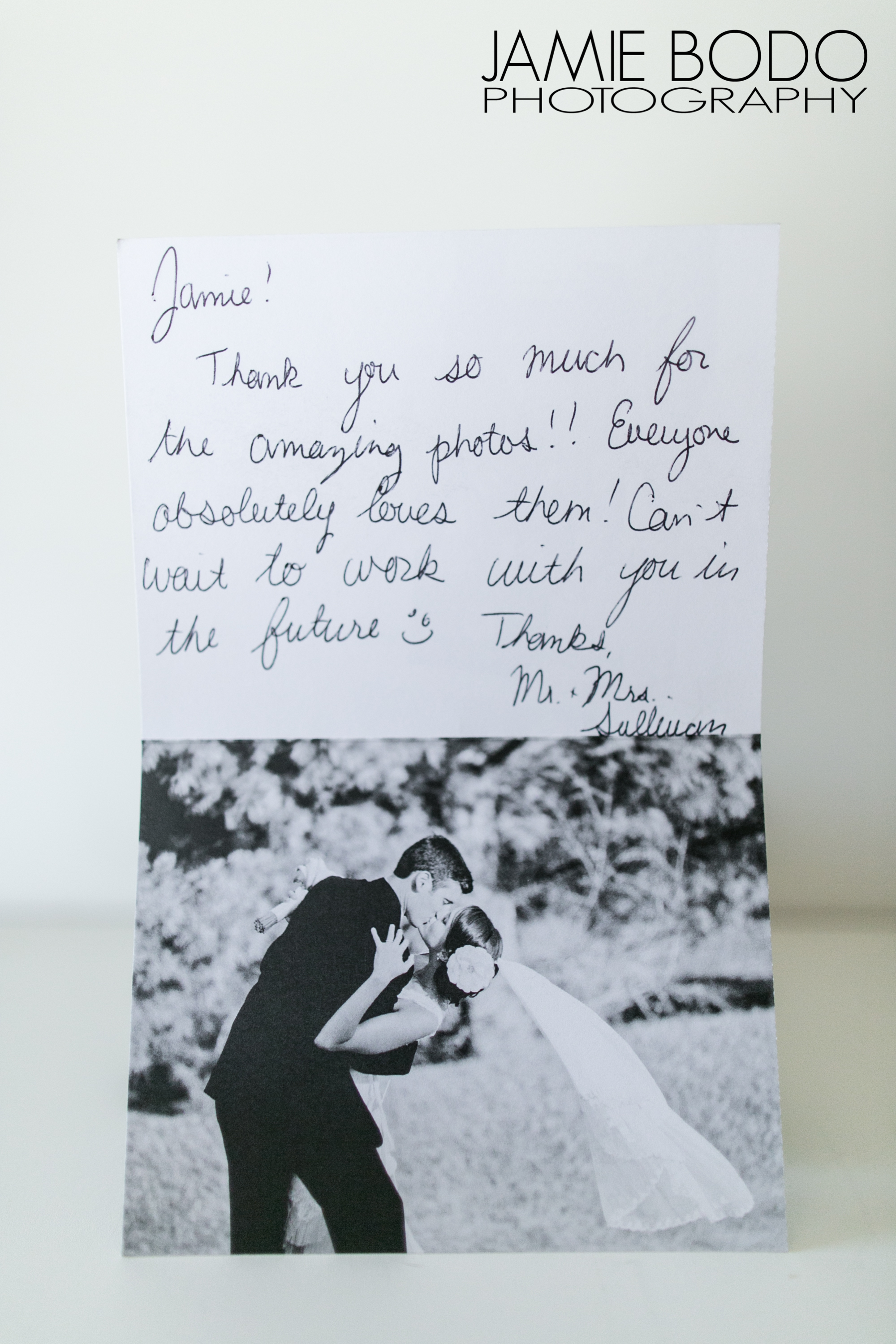 happy client thank you cards wedding photography reviews jamie
