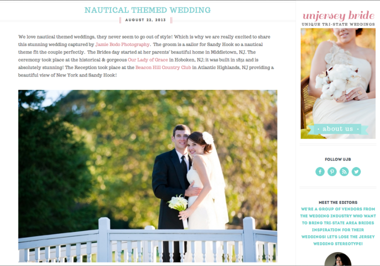 Featured on Un Jersey Bride by NJ Wedding Photographer Jamie Bodo Photo