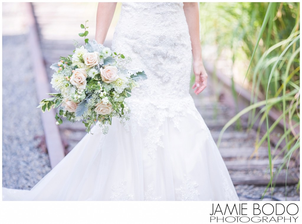 Gorgeous bouquet and tracks at Lambertville House Wedding Photos
