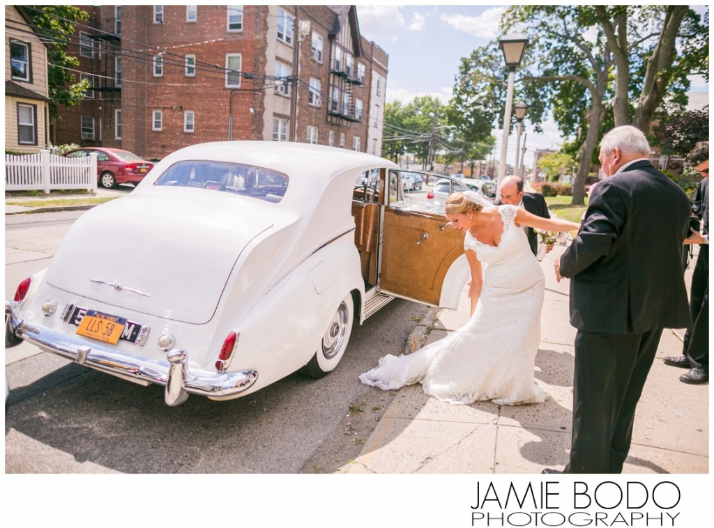 Rolls Royce Wedding Limo at Holy Name of Mary Parish in Valley Stream NY Wedding Photo