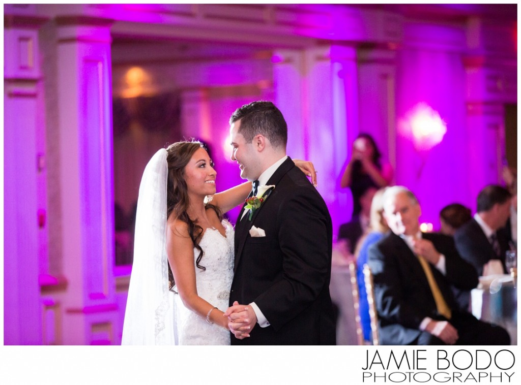 purple uplighting first dance at il Tulipano Wedding photo